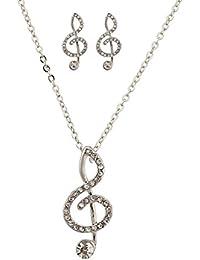 LUX accesorios Juego de Collar con Colgante de sol amante de la música de cristal pave Pendientes.