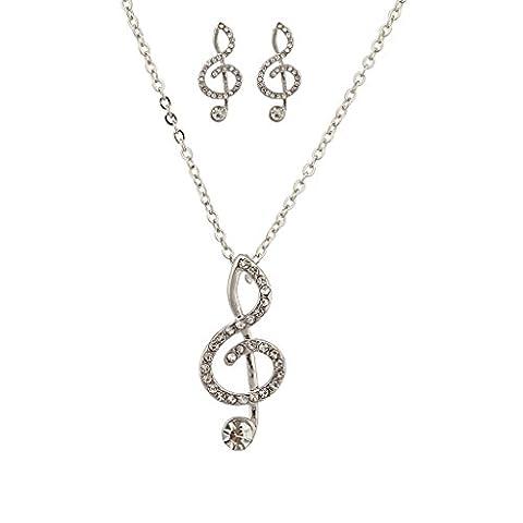 Lux Accessoires serti–Collier Femme–Pendentif clé de sol musique Lover en cristal Boucles d'oreilles assorties.
