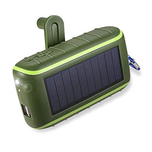 Workingda Powerbank Solar Ladegerät, 10000mAh Externer Akku Kurbel Generator mit Dual USB Ausgängen und Taschenlampe für Handys, iPad, Kamera(Grün) (Kurbel-handy-ladegerät)