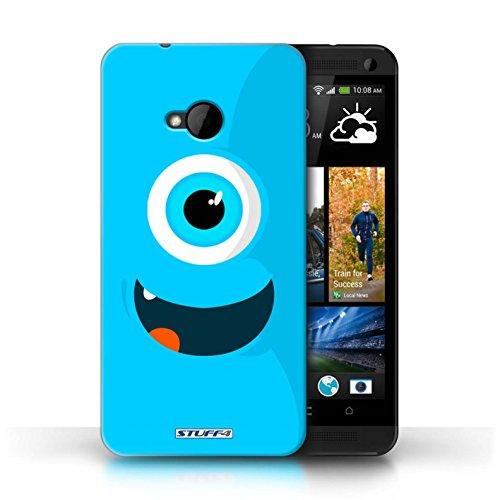 Kobalt® Imprimé Etui / Coque pour HTC One/1 M7 / Jaune conception / Série Monstres Bleu