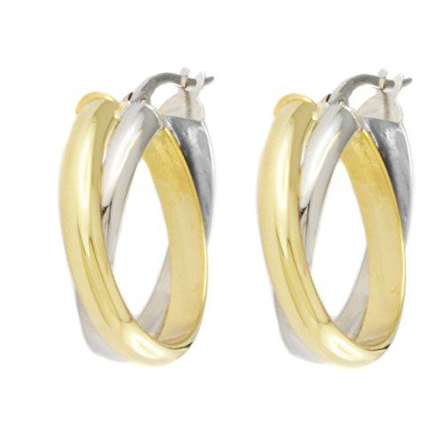 Pendientes de aro para mujer, oro auténtico, bicolor amarillo y blanco