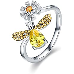 Anillo de plata de ley 925, diseño de abeja con margarita, tamaño abierto, para mujer, fiesta, joyería