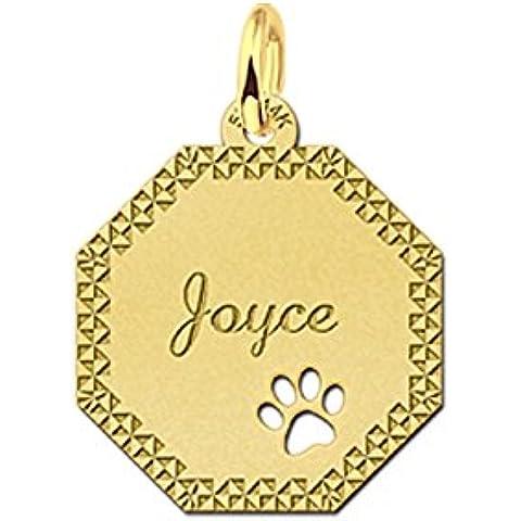Nome Forever catena veneziana in oro con pendente a 8rettangolare con la sua incisione nome e diamantata e ausgestanzter zampa