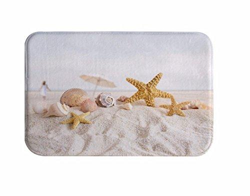 A.Monamour Badematten Badteppiche Badvorleger Strand Landschaft Starfish Muschel Muscheln Auf Weißem Sand Tropische Natur Nautik Weiche Flanell Bad Matten Bereich Teppiche Boden Teppiche Fußmatten