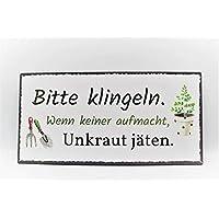 Metall Schild Unkraut vergeht nicht  40x20cm Bildmotiv Gartendeko Spruch Tafel