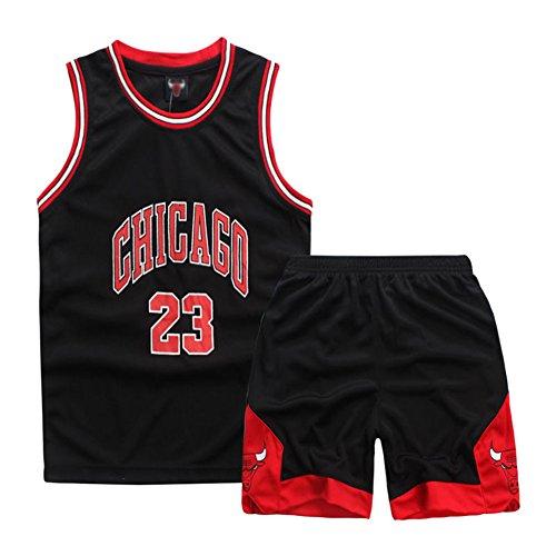 Sokaly Niños Chicago Bulls Jorden # 23 Curry#30 James#23 Conjunto de Camiseta de Baloncesto Chaleco & Pantalones Cortos Cómodo para Chicos (Adulto L(160-165), Negro)
