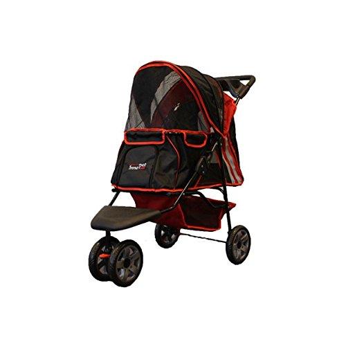 """InnoPet® Hundebuggy Hundewagen Kinderwagen für Hunde rot schwarz klassisch Pet Stroller Modell """"All Terrain"""" Hundekinderwagen Klappfunktion"""