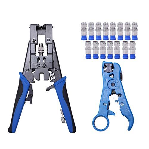 SNOWINSPRING Crimpwerkzeug-Kit Kabelanschluss Crimpwerkzeugklemme Mit Abisolierklemme + 15 F-Stecker Einstellbares F/BNC/Cinch-Kabel Koaxial/Netzwerk/UTP/STP-Kabel RG 59/6 RG 7/11 Rg59-bnc-crimp-tool