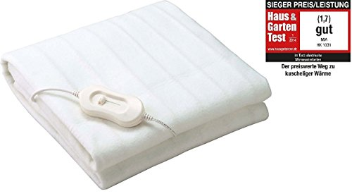 ThermaRelaxx weiches Wärmeunterbett Wärmedecke mit Schnellaufheizung und Abschaltautomatik, 150x80 cm, Heizmatte mit 60 W, Heizdecke bis zu 45 C° Maschinenwäsche geeignet, weiss - Beheizte Wellness-kissen