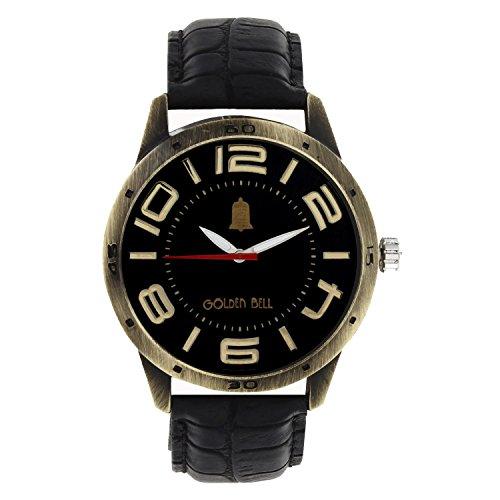 Golden Bell Golden Bell Stylish Black Dial Brass Look Watch