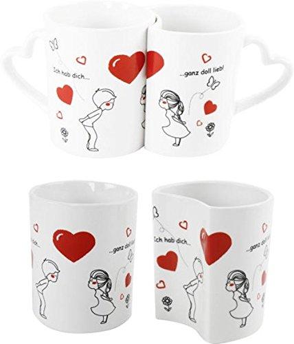 """Becher Tasse Paartasse 2er Set Liebestasse Partnertasse """"ich hab Dich lieb"""""""
