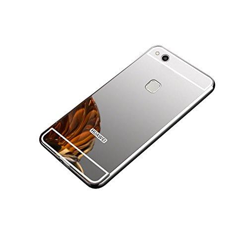 Minto Luxus Aluminium Metall Spiegelhülle Schutzhülle + Panzerglasfolie iPhone 5 / 5S / SE Spiegel PC Rückseite Case Cover Hülle Gold + Metall Bumper Rahmen Echtglas Hartglas Schutzfolie 9H Silber -p10 lite