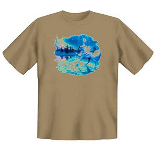 Pferde-Shirt/T-Shirt mit schönem Tier-Aufdruck: Majestic Night - schönes Horse-Motiv Sand