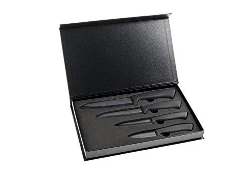 Hochwertiges Keramikmesser Set 4-teilig / Matt schwarz, sehr lang anhaltend scharf / In schöner Geschenkverpackung