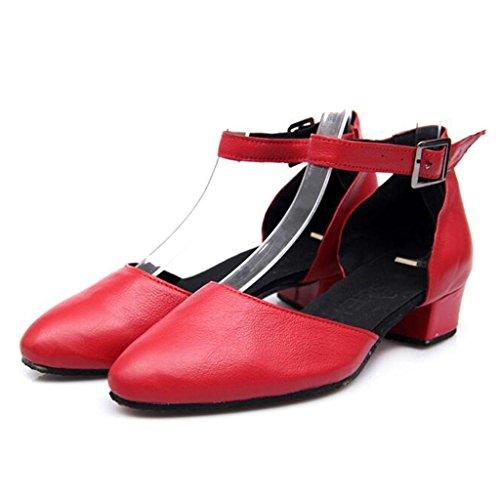 W&LM Signorina Base Morbida Scarpe Da Ballo Latino Scarpe Di Amicizia Scarpe Moderne Scarpe Quadrate Scarpe Da Ballo Sociale Red