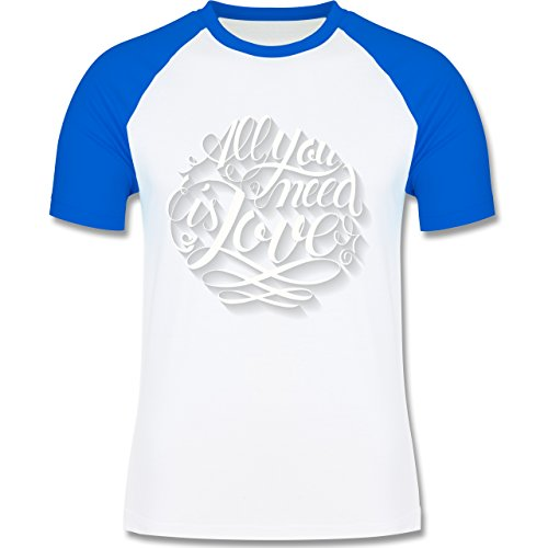 Statement Shirts - All you need is love Lettering - zweifarbiges Baseballshirt für Männer Weiß/Royalblau