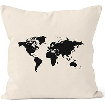 bedruckter kissenbezug 40x40 weltkarte world map kissen h lle deko kissen baumwolle autiga. Black Bedroom Furniture Sets. Home Design Ideas