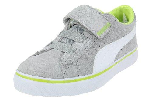 Lime Leder Skate Schuhe (Puma Vulc V 350731, Unisex-Kinder Sneaker, Grau (limestone gray-white-lime 27), EU 22 (UK 5) (US 6))
