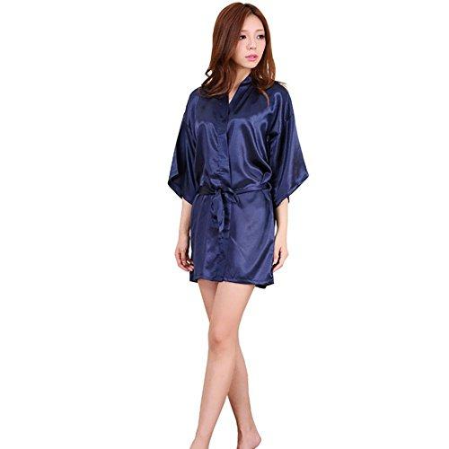 CHUNHUA Court paragraphe Mme peignoir de soie imitation pyjama (couleur en option) , pink , s deep blue