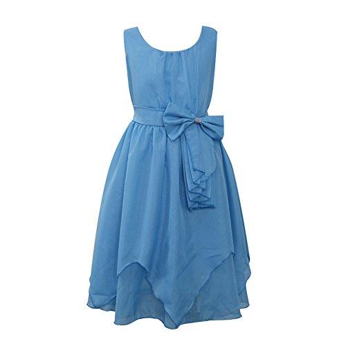 LSERVER Mädchen Sommer Kleid mitSchleife-Deco, Hellblau, Gr. 134/140(Herstellergröße: 140)