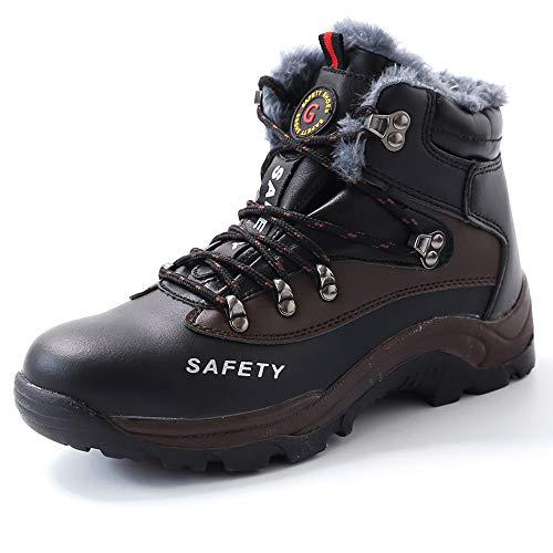 Super Lee Sicherheitsschuhe Herren Winter Arbeitsschuhe S3 Sicherheitsstiefel mit Stahlkappe & Warm Gefütterte 35-46