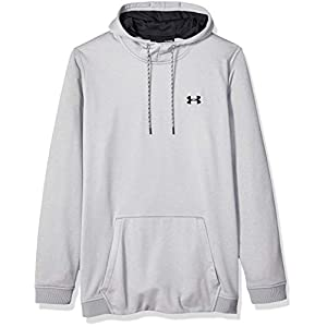 Under Armour Armour Fleece Po, Felpa Uomo, Grigio (Steel Light Heather/Nero), L