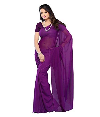 dark purple ciffon georgette saree plain