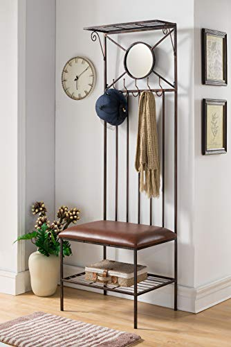 Copper Metal Entryway Hallway Storage Bench Hall Tree Coat Rack