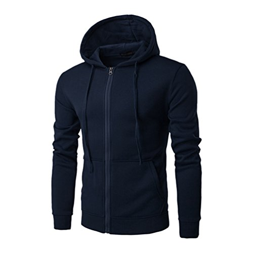 ZKOO-Felpa-con-Cappuccio-Uomo-Zip-Hooded-Sweatshirt-Manica-Lunga-Hoodie-Cappotto-Giacca-Pullover-Blu