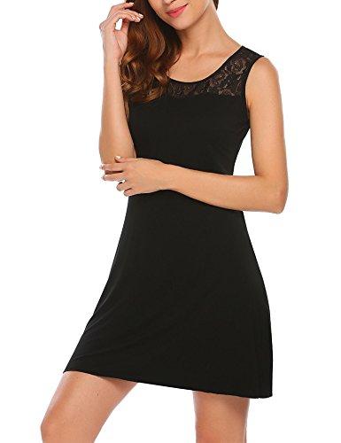 ADOME Damen Baumwolle Nachtkleid Nachthemd mit Spitzen Dessous Nachtwäsche A Schwarz