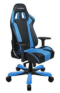 DXRacer Gaming Sessel, Lederimitat, Schwarz und Blau, 93 x 73.5 x 37.299999999999997 cm