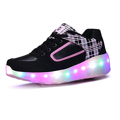 Zombies Jungen M盲dchen Roller Skate Schuhe mit R盲dern Licht Black Pink-Two Wheels
