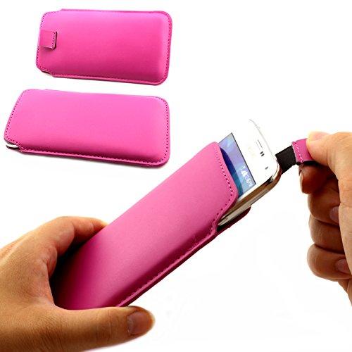 Universal Schutz Tasche Slim Cover Pull Tab Hülle passend für Apple iPhone 6 /6s, Samsung Galaxy S7, S6, S6 edge, S5 und viel mehr … ScorpioCover pink