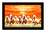 #9: JSOline Seven Horse Painting with Frame for vastu || Seven Running Horses Wall Painting || Seven Running Horses Painting with Frame UV Textured Print Large Size 12 X 0.5 X 18 inches