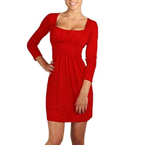 Subfamily Fashion Frauen Mädchen Mini Kleid Square Neck Tunic Langen Ärmel Falten Kleid Minikleid U Ausschnitt Fit Slim Reine Farben Elegant