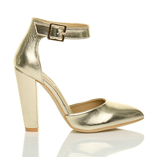 Damen Hochblockabsatz Mode Schnalle Spitz Pumps Knöchelriemen Schuhe Größe Goldmetallic