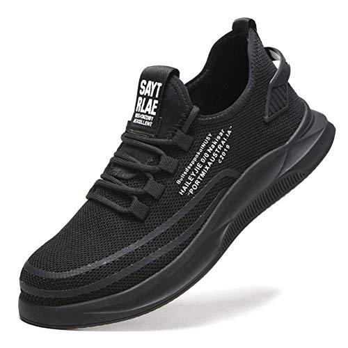 Cutito Sicherheit Sports Schuhe, Anti-Piercing Atmungsaktiv Sicherheit Schutz Schuhe, Antirutsch Netz Turnschuhe für Mann Damen - Schwarz, 43