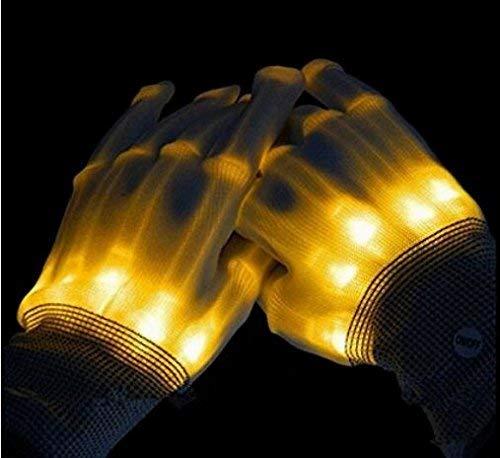 Ouken LED-Beleuchtungs Handschuhe Leuchtend glänzende Finger Magic Halloween Kostümparty Weihnachtsfeier Karneval (gelb)