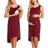 UNibelle Damen Umstandskleid Frauen Schwangerschaftskleid, Damen Mutterschaft Spitzenkleid Schulterfreies Kleid