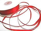 CaPiSo 100m 3mm Breit Satin Schleifenband Geschenkband Satinband Dekoband Hochzeit Weihnachten (Rot)