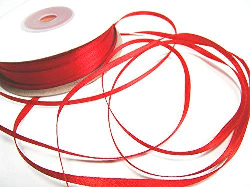 CaPiSo® 100m Satinband 3mm Schleifenband,Geschenkband,Dekoband,Satin Hochzeit,Weihnachten (Rot, 100m 3mm) (Band Rot)