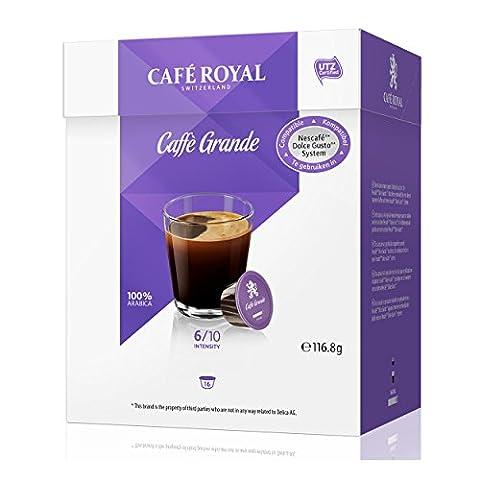 Café Royal Caffè Grande, Lot de 6, Nescafé Dolce Gusto, Café Capsules Café Compatible, violette Bleu, 96Capsules
