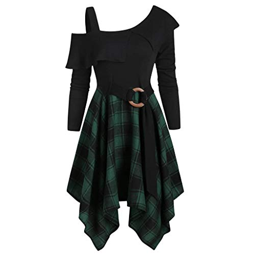 Mypace Elegant Sexy Bodycon Casual Herbst Dresses für Frauen Plus Size Plaid Skew Neck Belted Taschentuch Undichte Schultern, Taille, Rüschen, Unregelmäßigkeiten Kleid (Kleid Floral Long Knit)