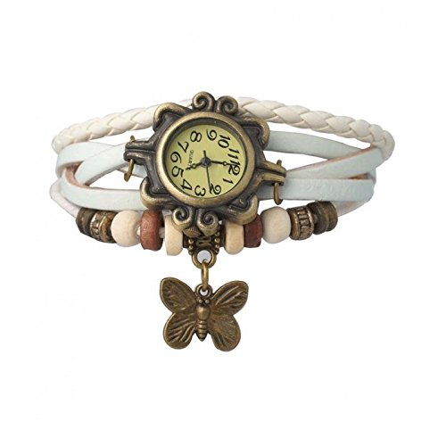 Accessorisingg Bracelet with Butterfly Charm analog White dial Women's Watch -White1