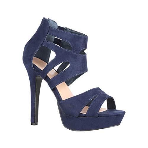 Elara Damen Pumps | Moderne Cut Out Stilettos | Wildlederoptik High Heels | chunkyrayan LL85 Navy-36 Cut Out Stiletto