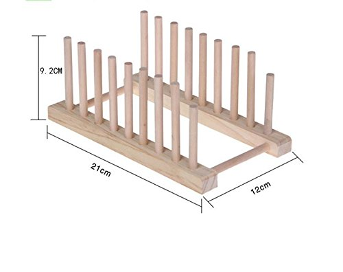 MoGist Platos Madera Soporte 8Rejilla Bamboo Dish Drying Rack Plate Rack para Cubiertos Platos Escurridor–Escurreplatos 21* 12* 9.2CM