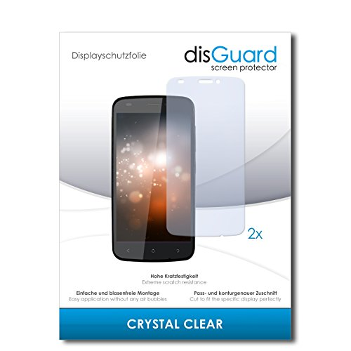 disGuard® Bildschirmschutzfolie [Crystal Clear] kompatibel mit Gionee Ctrl V5 [2 Stück] Kristallklar, Transparent, Unsichtbar, Extrem Kratzfest, Anti-Fingerabdruck - Panzerglas Folie, Schutzfolie
