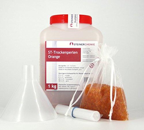ST-Trockenperlen Orange (1 kg, regenerierbar) Komplett-Set mit Organzabeuteln und Trichter