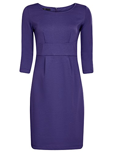 oodji Collection Femme Robe en Maille à Manches 3/4 Violet (8000N)
