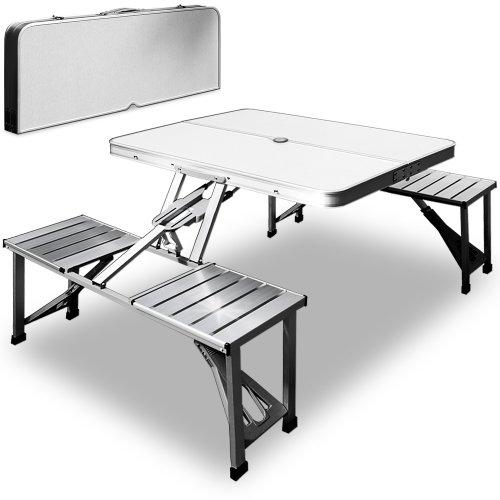 Deuba Camping Sitzgarnitur aus Alu | Kofferfunktion | 4 Sitzplätze | klappbar | Campingtisch Campingmöbel Sitzgruppe【Modellauswahl】